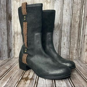 UGG Jaspen oiled leather & genuine suede mid calf boots - braided strap size 9